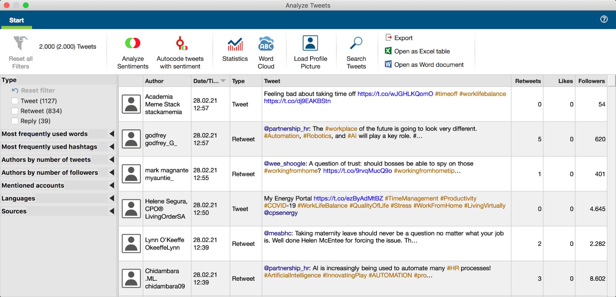 MAXQDA workspace for analyzing tweets