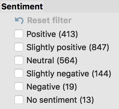 Sentiment filter