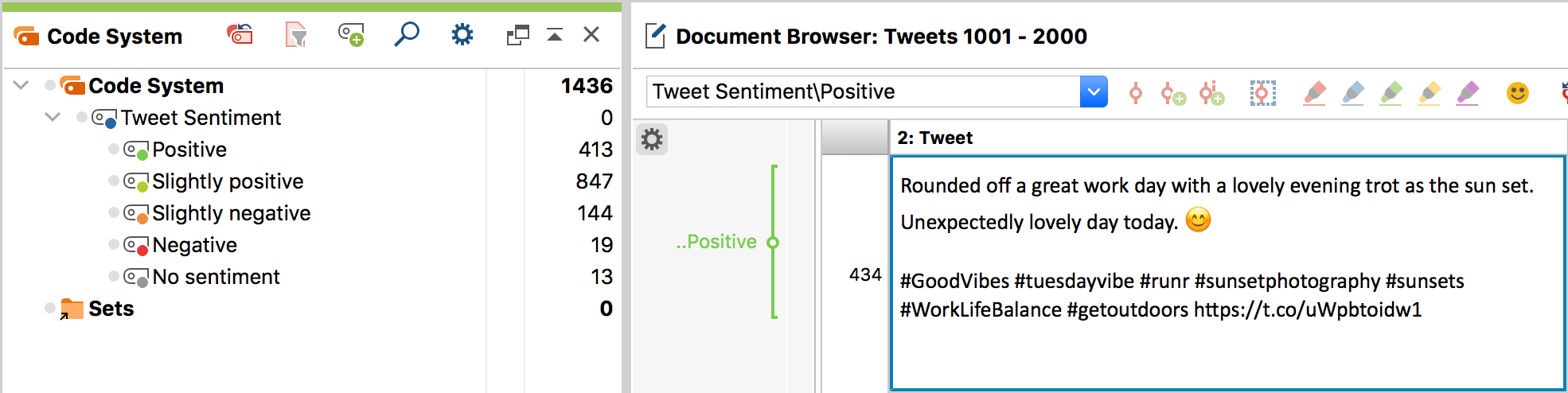 Sentiment codes in the 'Code System' (left); Coded tweet in the 'Document Browser' (right)