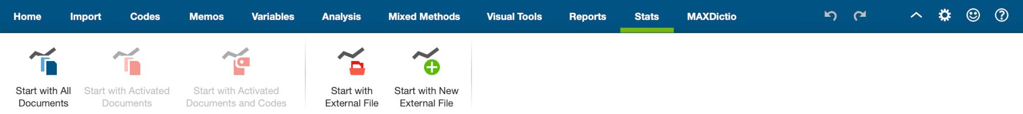 "The tab ""Stats"" in MAXQDA's main ribbon menu"
