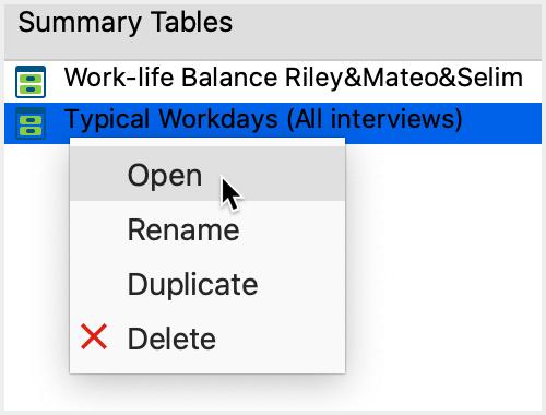 Context menu on a table name