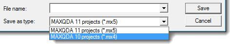 Save MAXQDA 11 project for MAXQDA 10: Step 2