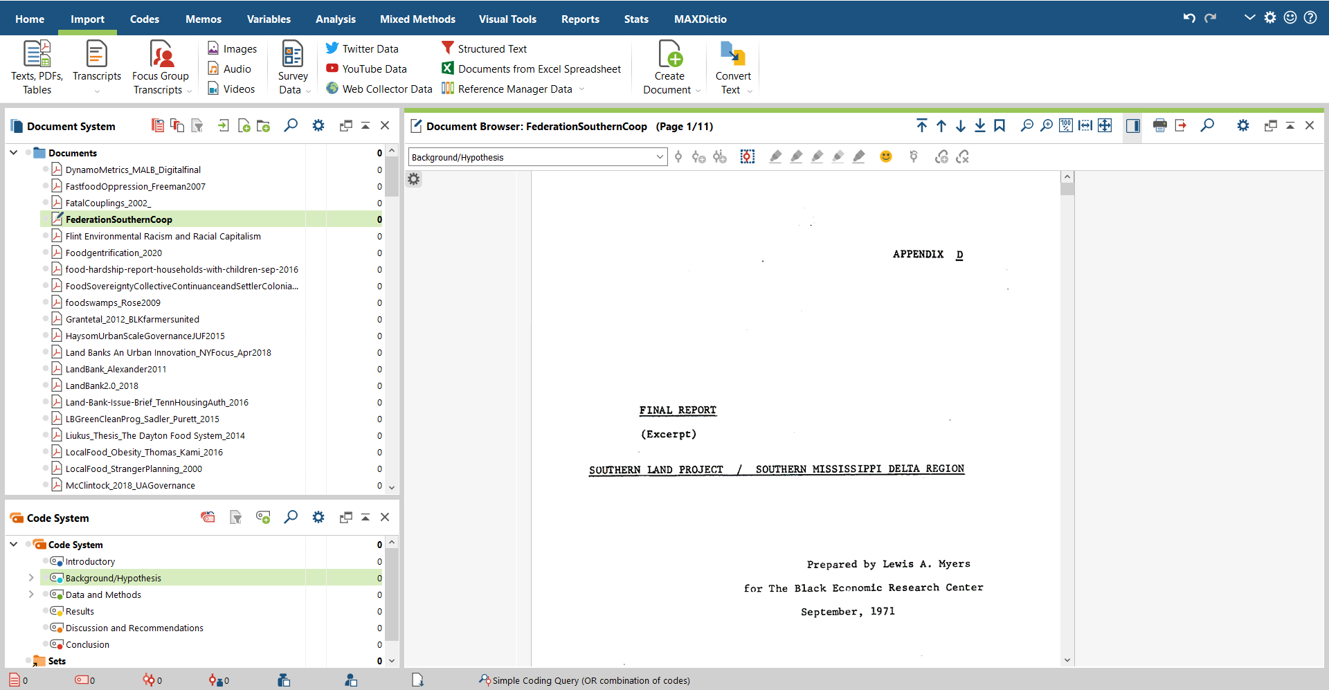 Writing Myself Out of the Quarantine Slump- Unsorted documents displayed in the MAXQDA Document Browser.