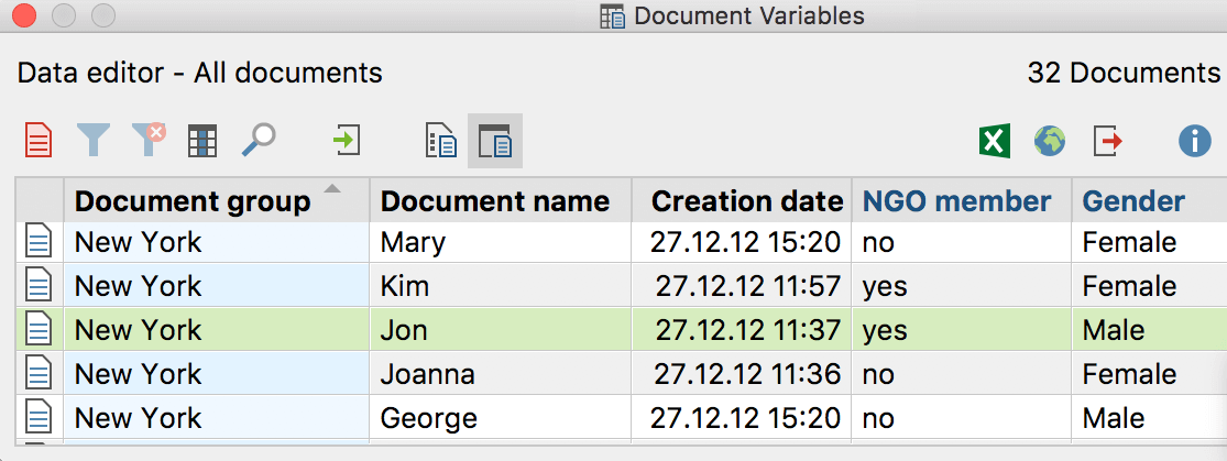Example of application of Document Variables