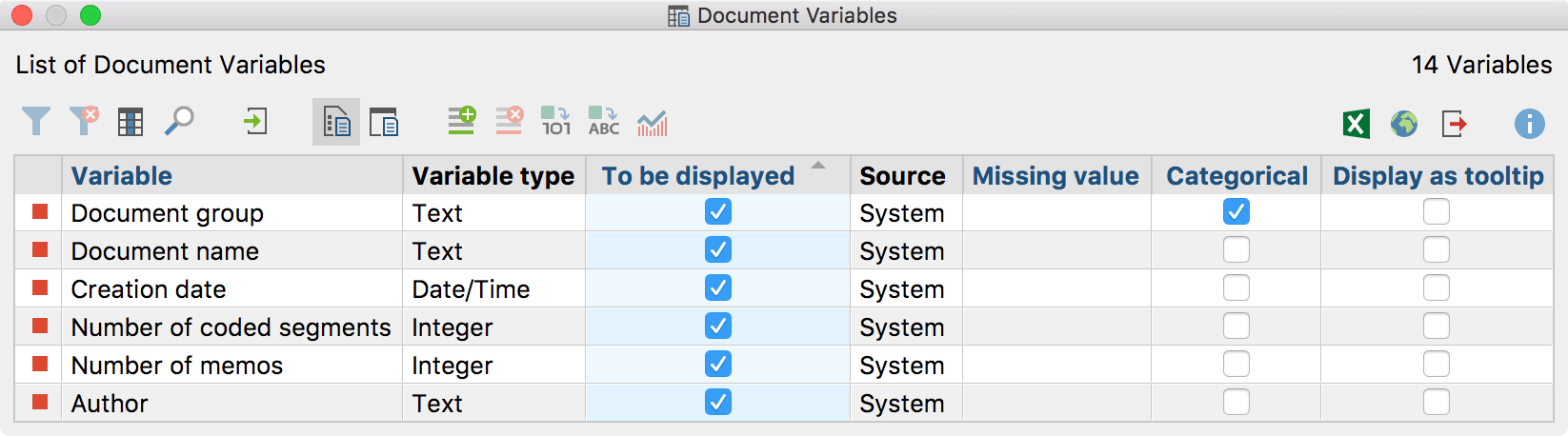 "System Variables in the ""List of document variables"""