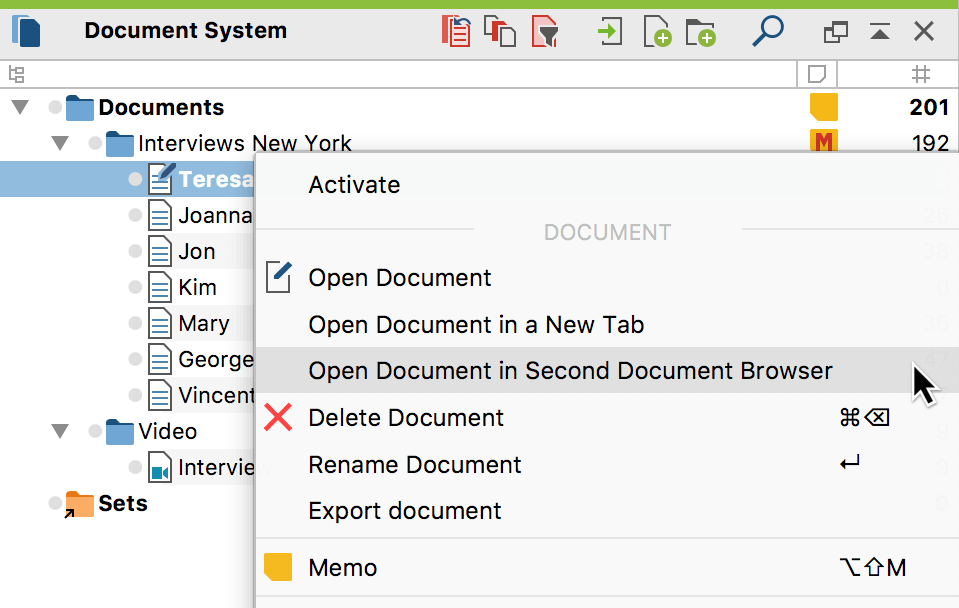 Open document in second Document Browser