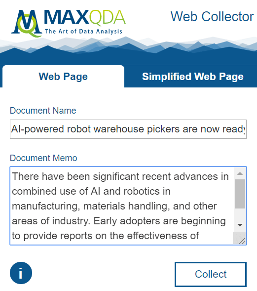 Strategic Foresight Research with MAXQDA: Web Collection
