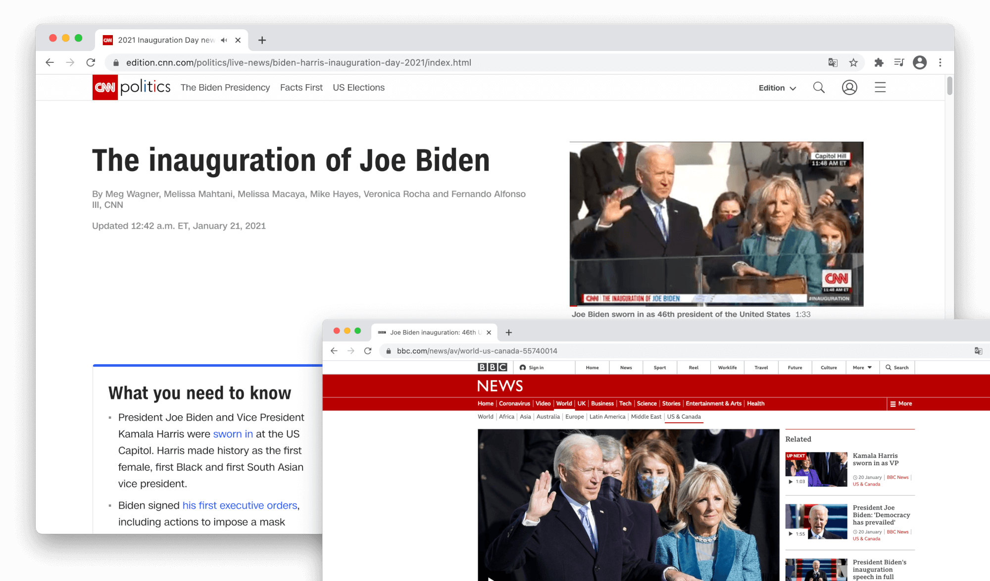 Two screenshots from the Chrome web browser displaying a BBC and a CNN news article on the inauguration of Joe Biden.