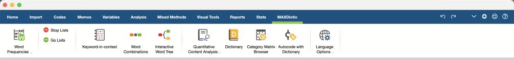 Screenshot of the MAXDictio Toolbar in MAXQDA.
