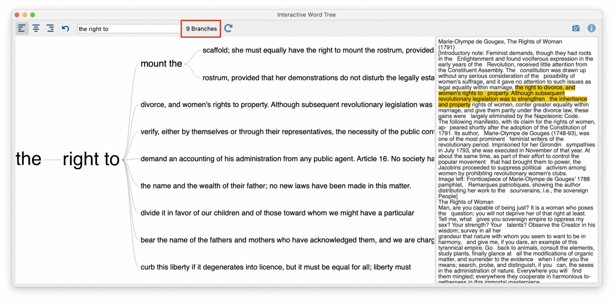 Screenshot of Word Tree with the new root and reduced branches.
