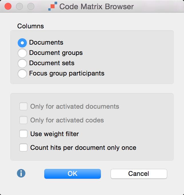 code matrix browser option in MAXQDA