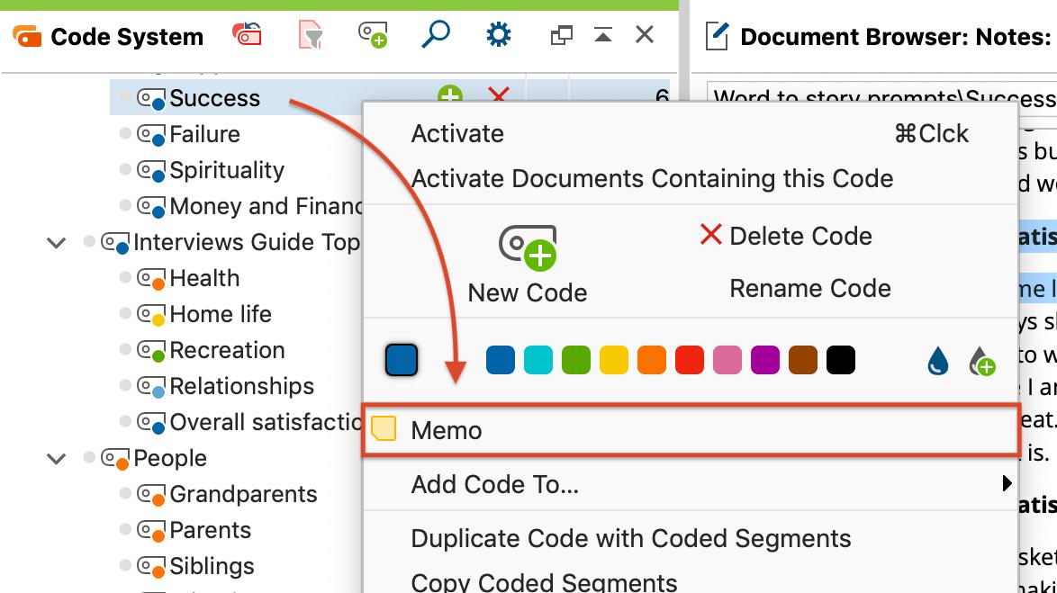 Creating a code memo