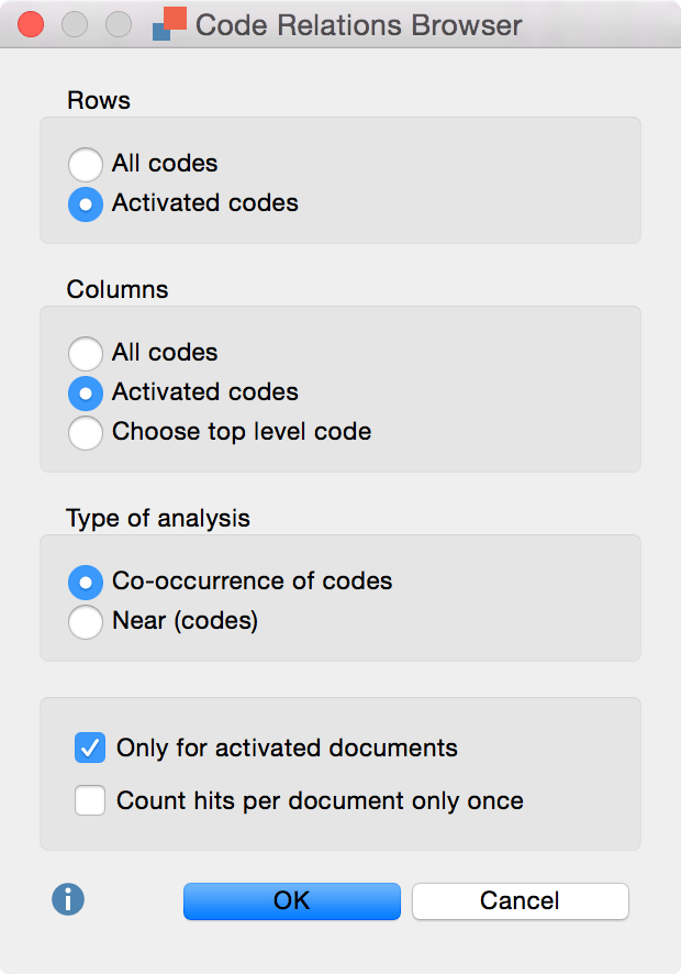 Code Relations Browser options in MAXQDA