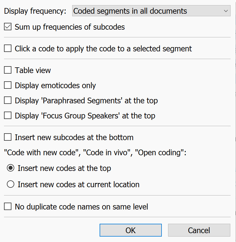 Settings for the Code System window