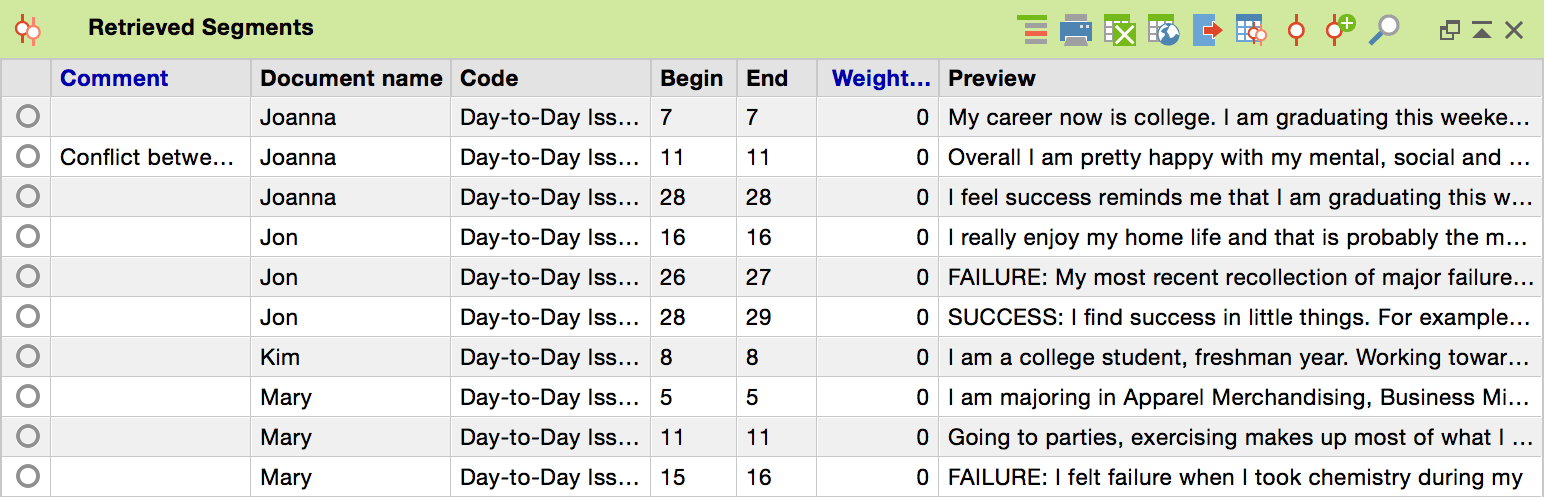 Table view of the coded segments window