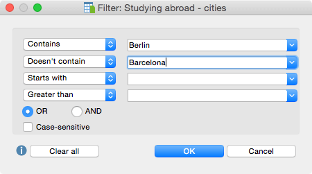 Document variables - Filter