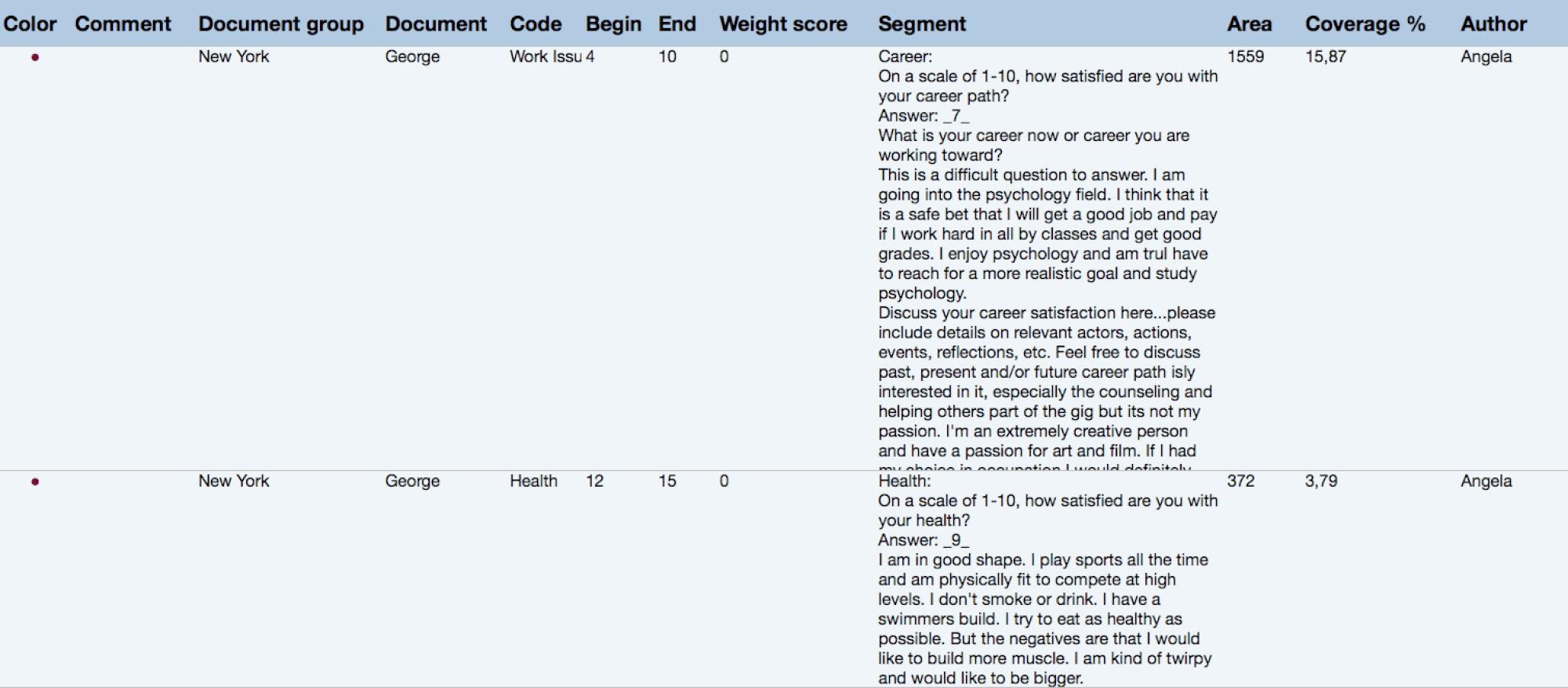 Export coded segments