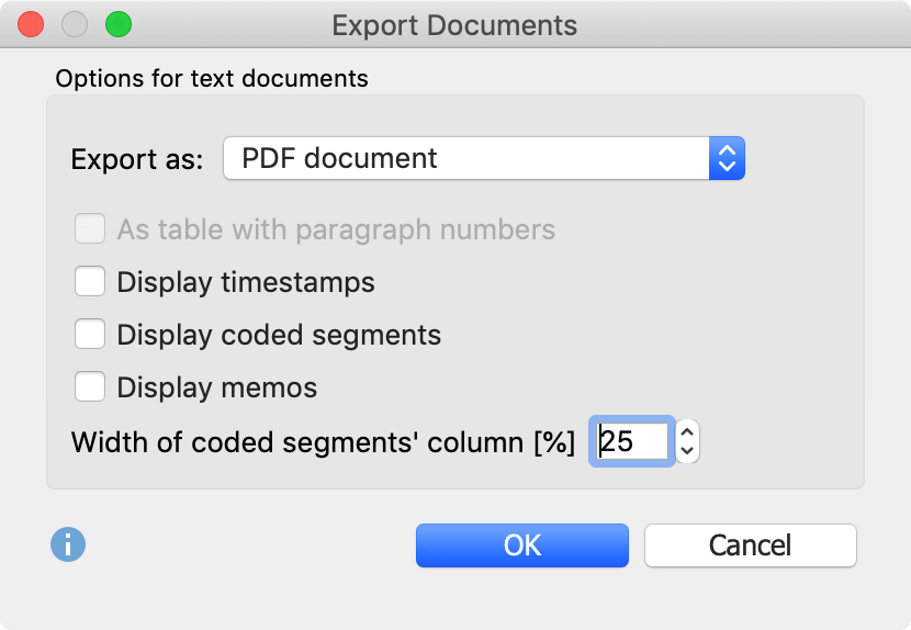 Transcript export options