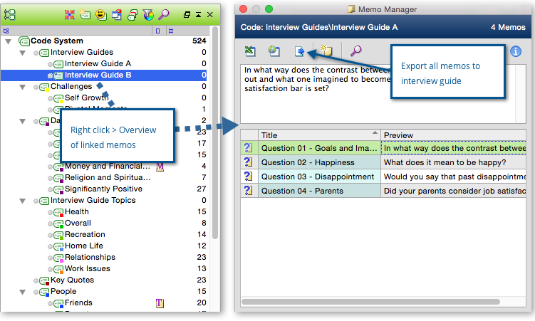 Export MAXQDA memos to use for interview guide