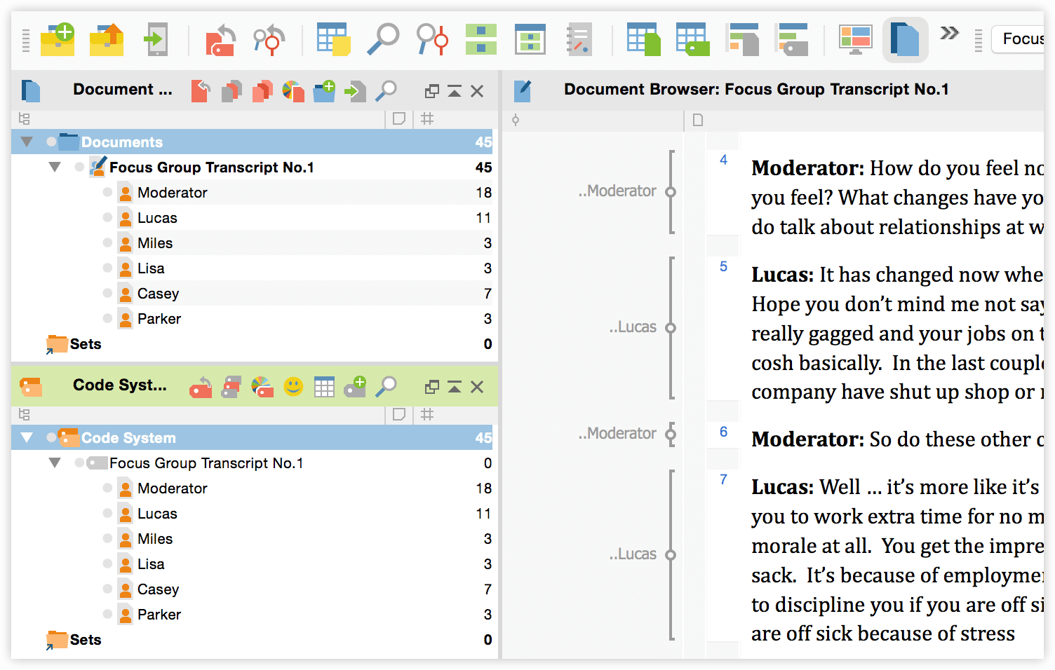 Working with focus group transcripts in MAXQDA