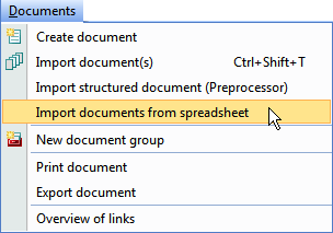 Screenshot of the MAXQDA documents menu