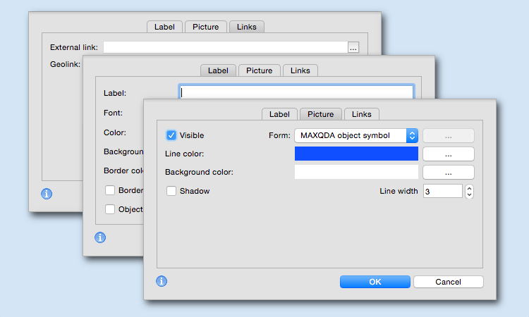 Optimized dialogs in MAXMaps