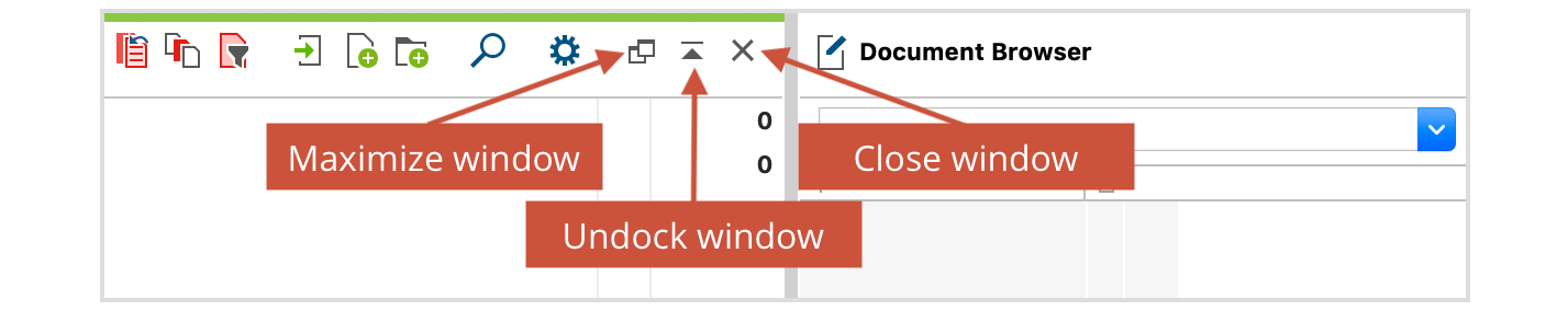 Small toolbar within a window