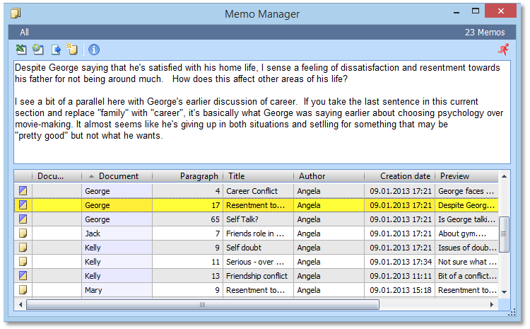 Use 'Memos' and the 'Memo Manager' for your interpretation