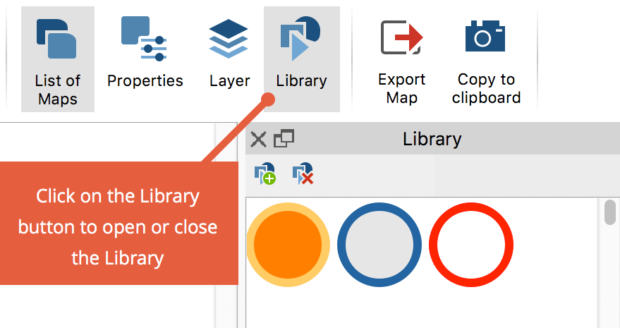 The Library window on the right side of the MAXMaps window.