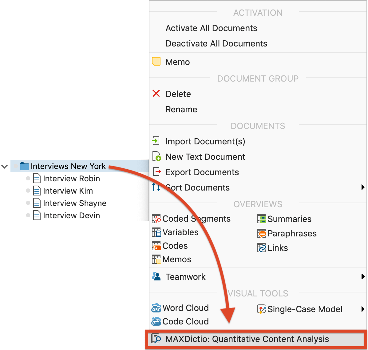 """Opening the function """"MAXDictio: Quantitative Content Anaylsis"""" via right-clicking on a document group"""