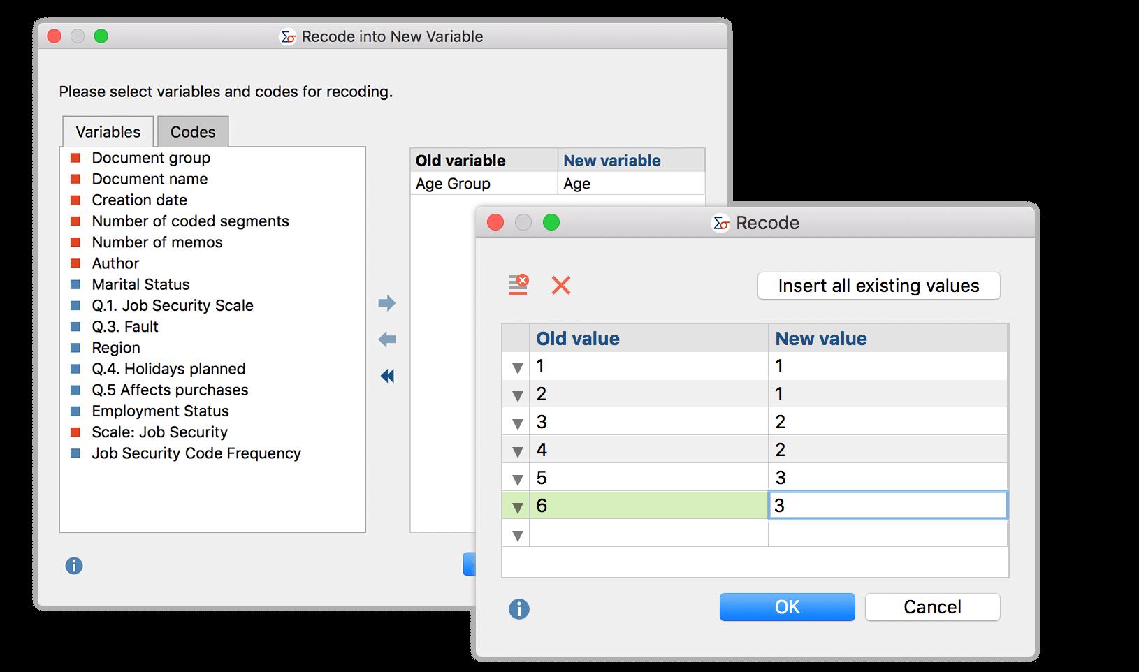 recode variables in MAXQDA