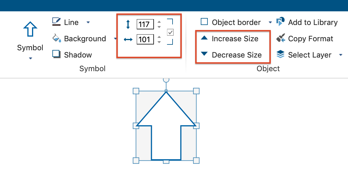 Change the size of an object in the format tab