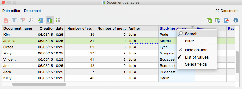 Document variables - Search