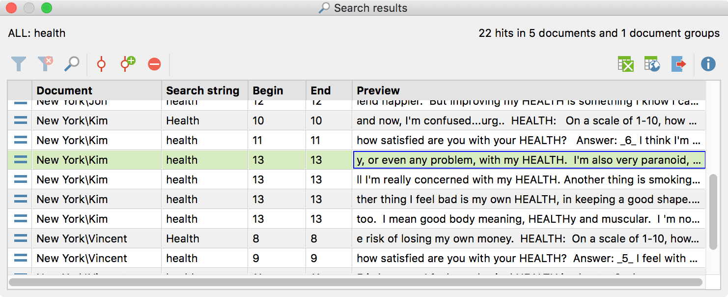search results in MAXQDA includes preview