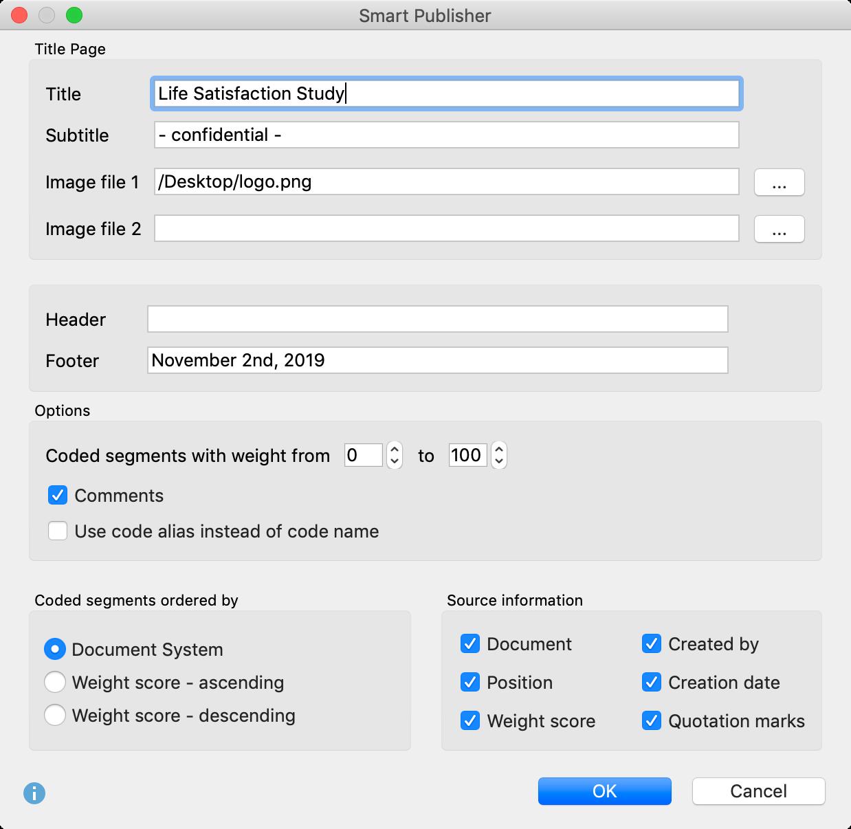 Smart Publisher settings