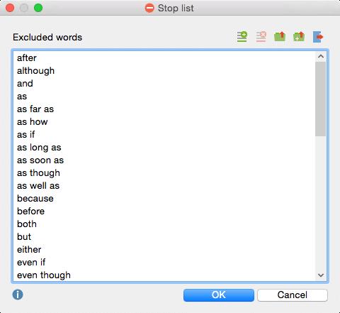 Stop list for quantitative text analysis