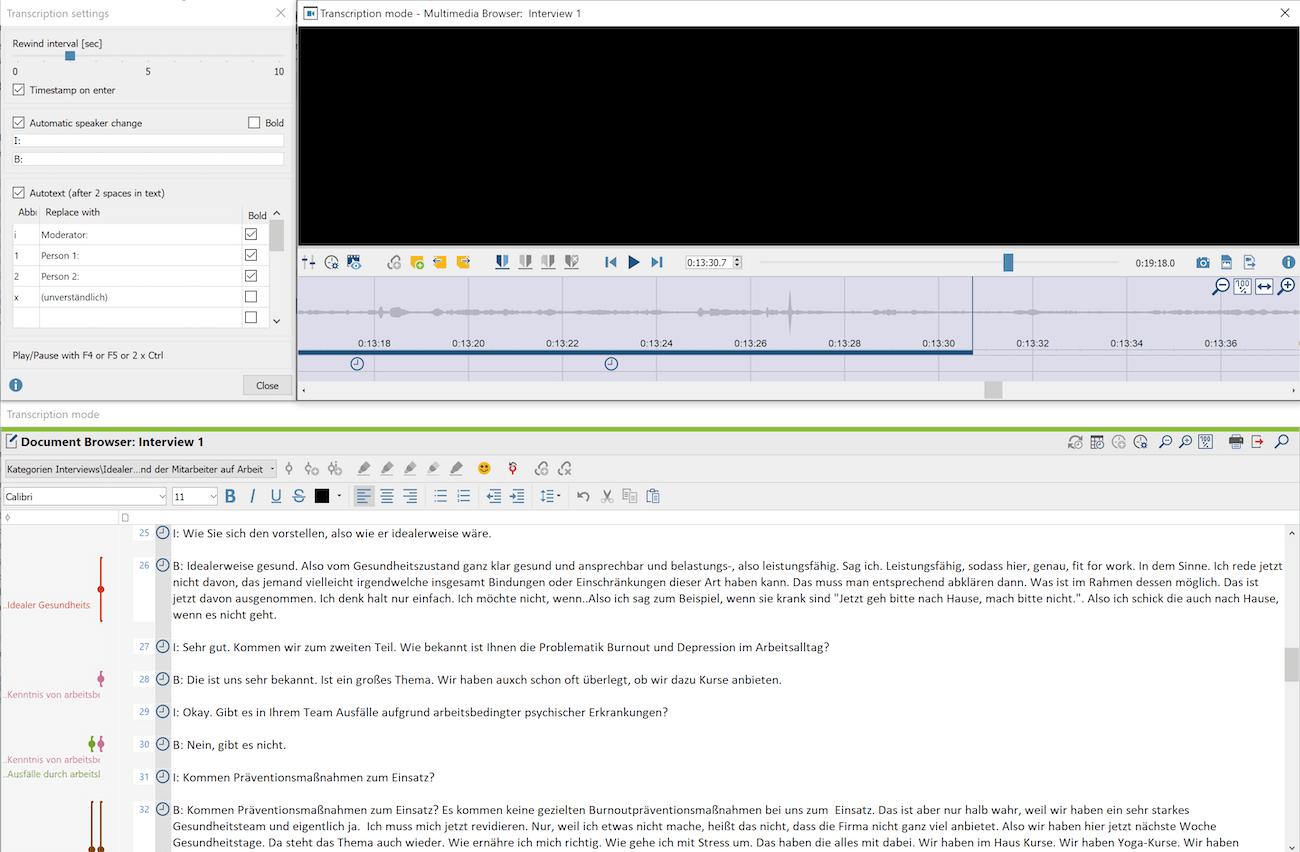 Transcription mode in MAXQDA