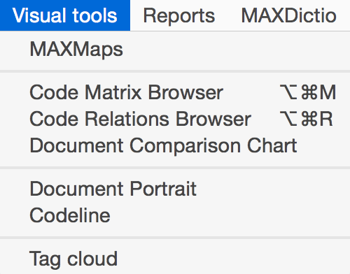 Visual Tools Menu