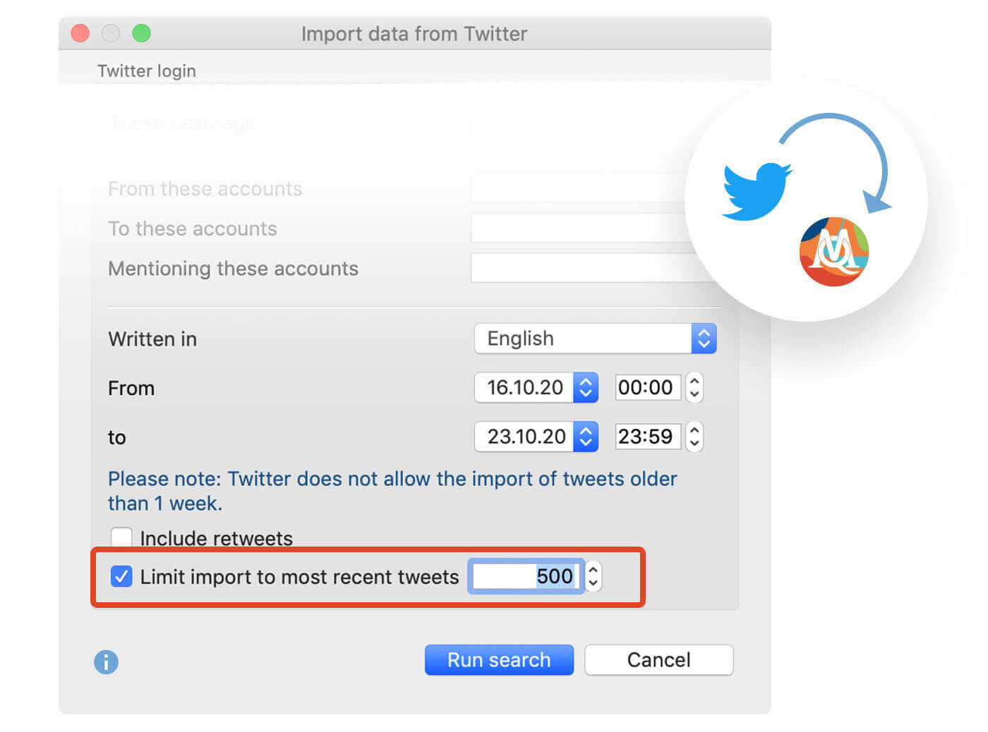 Screenschot from MAXQDA2020 showing the new option to import only the most recent Twitter tweets.