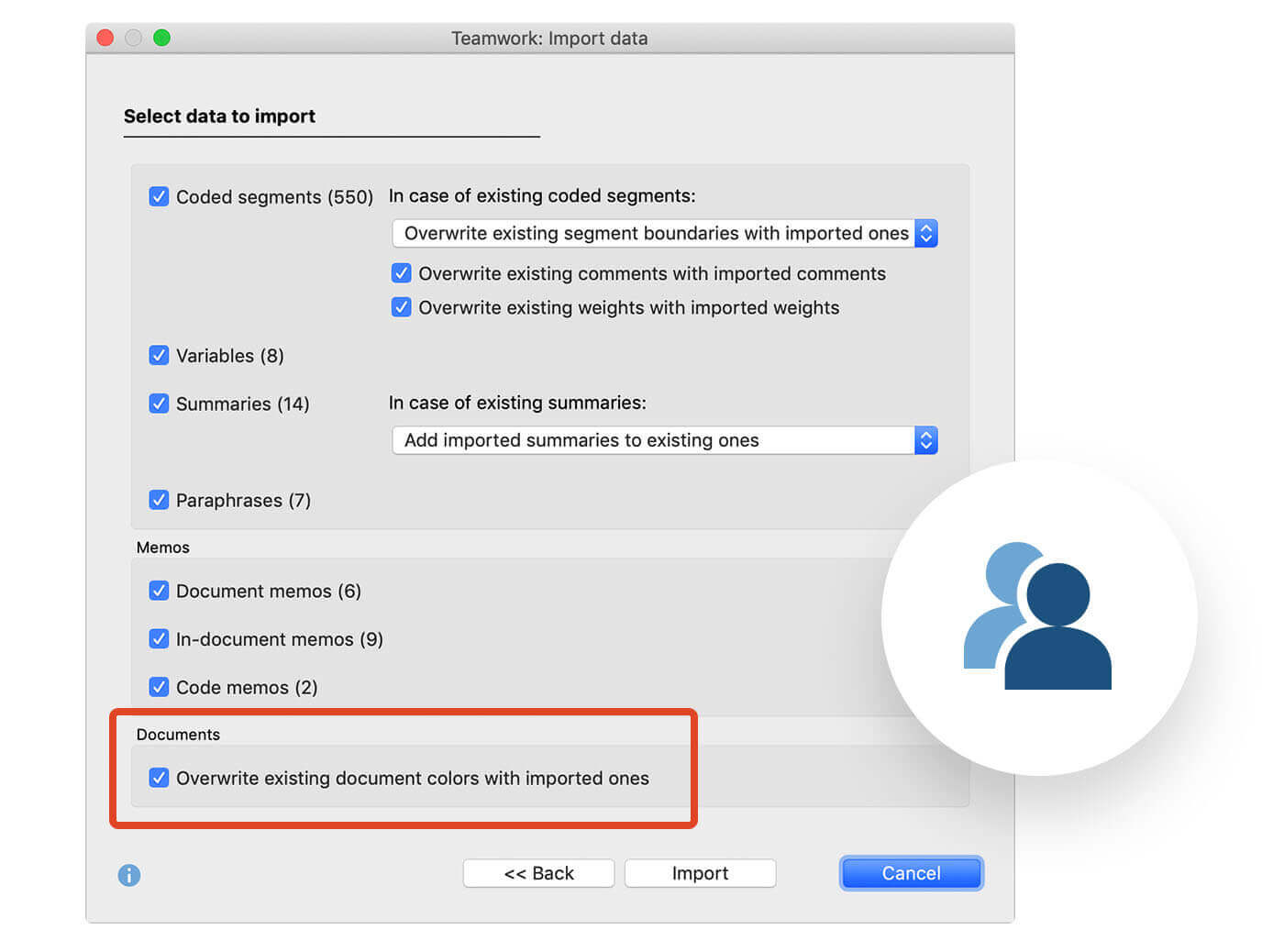 Screenschot from MAXQDA2020 showing the option to overwrite existing document colors from an imported Teamwork Exchange file