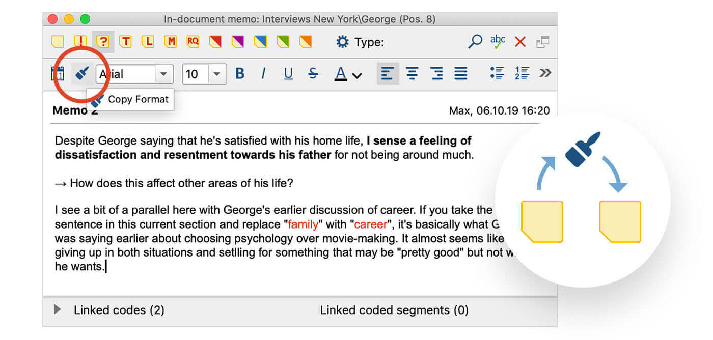 Screenshot from MAXQDA2020 showing the option to copy text formatting and styles within a memo.